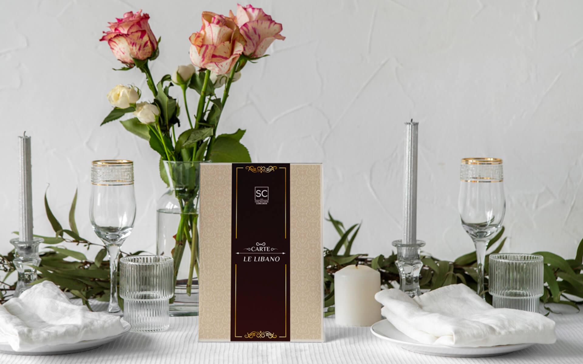 Conception et impression menu – Hôtel Concorde